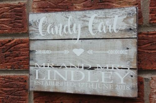 Wedding Signs Sweet Table Candy Cart Personalised Shabby Vintage Rustic Chic