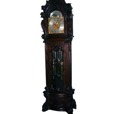 Monumental R.J. Horner Carved Antique Grandfather Clock Executed in Walnut #7165