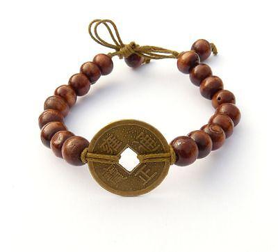 Bracciale Armschmuck Fortuna Bracciale Marrone Amuleto Moneta Cinese Asia Unisex-