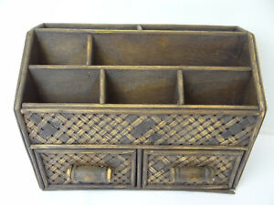 Image Is Loading Vintage Rattan Small Wood Desk Organizer Two Sliding