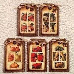 5 handcrafted wood prim garden vegetables hangtags ornies - Prim Garden