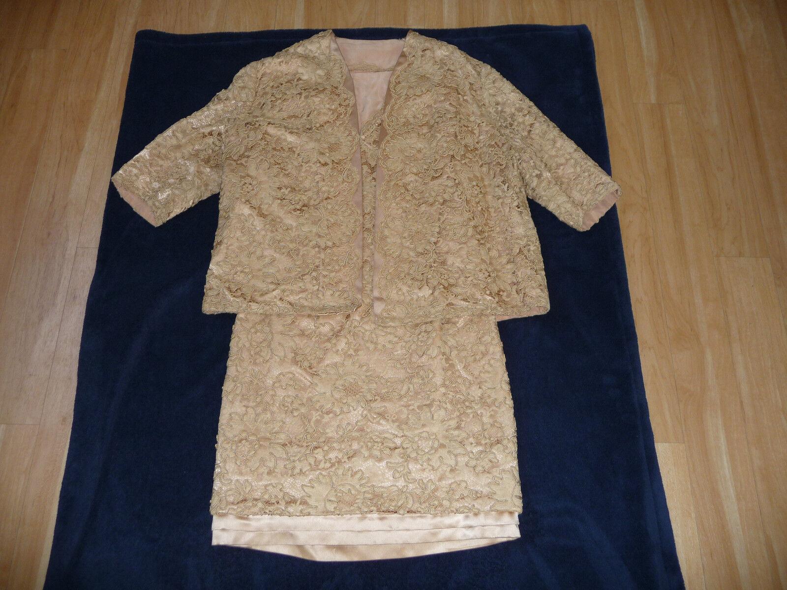 Brokatkleid Abendkleid mit Weste beige original 60er-Jahre Größe 36
