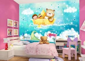 3D Girl Bear Ship 88 Wall Paper Murals Wall Print Wall Wallpaper Mural AU Kyra
