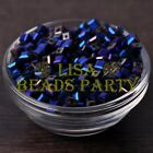 25pcs 6mm Cube Square Faceted Crystal Glass Loose Spacer Beads Blue Plated