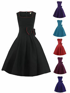 NEW-VINTAGE-1950s-ROCKABILLY-BLACK-PURPLE-BLUE-RED-BOW-SWING-PARTY-EVENING-DRESS