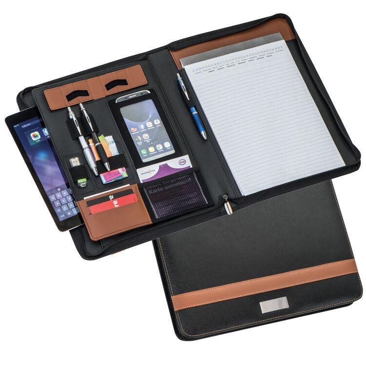 Schreibmappe A4 schwarz braun für Büro Außendienst Tagungen Meetings | Charakteristisch  | Attraktiv Und Langlebig  | Viele Sorten