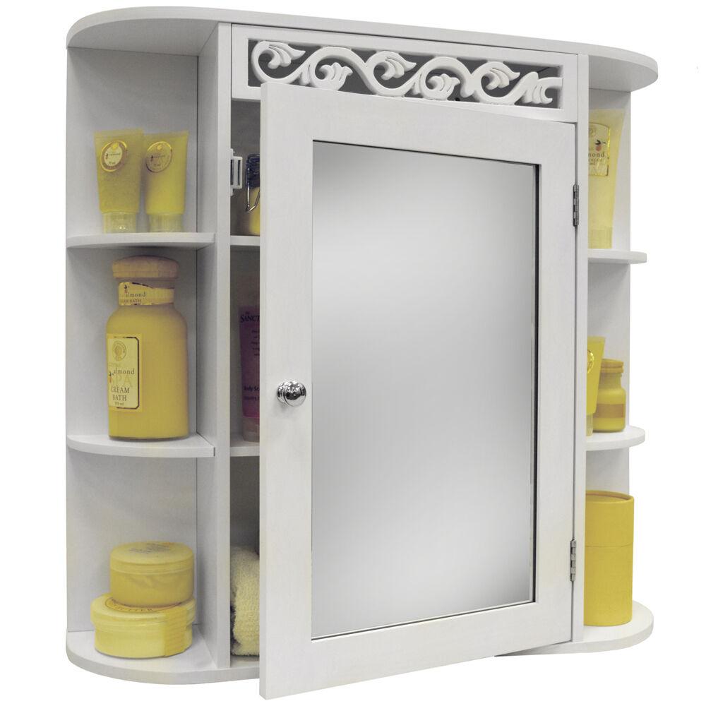 Wandmontage Badezimmer Spiegel Wand Aufbewahrungs Schrank Regal - Weiß BABR1024