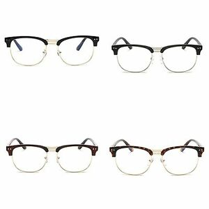 35b5320feb2cf Image is loading Fashion-Retro-Unisex-Half-Frame-Anti-radiation-Clear-