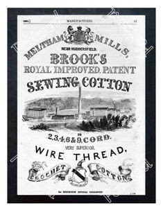 Historic-Brook-039-s-Cotton-Mills-Ca-1850-Advertising-Postcard