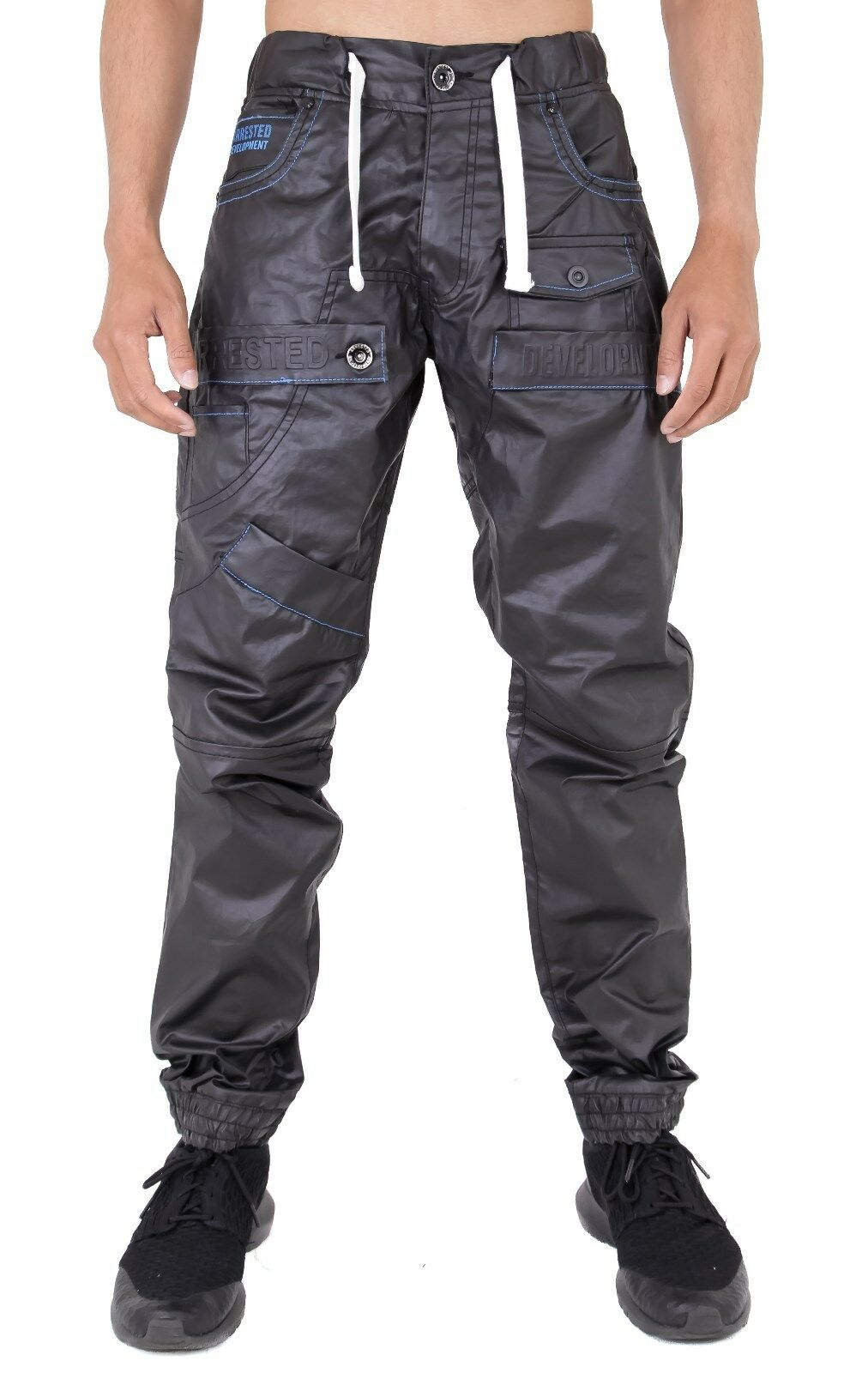 New Mens Wet Look Cuffed Jeans Joggers Casual Fashion By