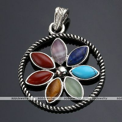 1x Round 7 Resin Healing Point Chakra Gem Sun Flower Pendant Charm For Necklace