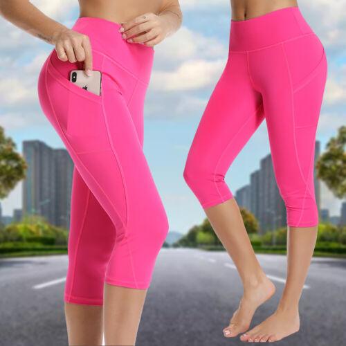 Womens Capri Leggings with Pockets High waist Yoga Pants Sports Gym Workout AM