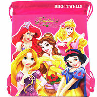 Disney Princess Licensed Hot Pink Drawstring Bag School Backpack