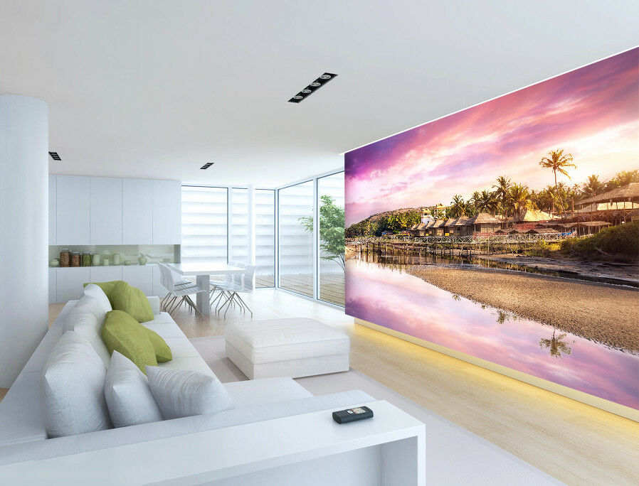 3D Beach Twilight  7 Wall Paper Murals Wall Print Wall Wallpaper Mural AU Summer