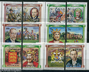 St Vincent, 1984, Lot 12 Timbres Série Kings & Queens George V Edward , Neufs**