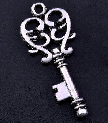 Skeleton Keys Steampunk Antiqued Silver Jewelry Art Craft Lot of 12