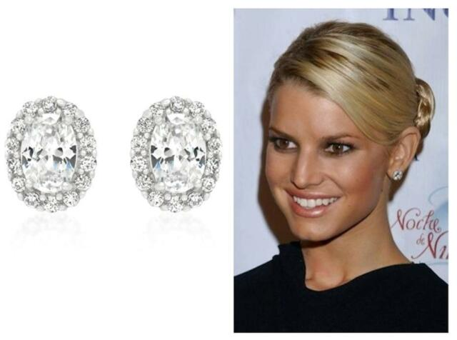 1.5 Ct CZ Cubic Zirconia 14k White Gold Pave Halo Oval Cut Stud Post Earrings!