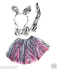 New Halloween tutu zebra animal print skirt tail ears bow zoo costume 3-7 years