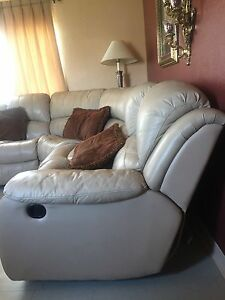 Details about 3-piece Cream Leather Sectional Sofa