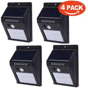 4piezas-30LED-Solar-Poder-pared-Bulbo-Lampara-Movimiento-Sensor-Ligero-Impermeab