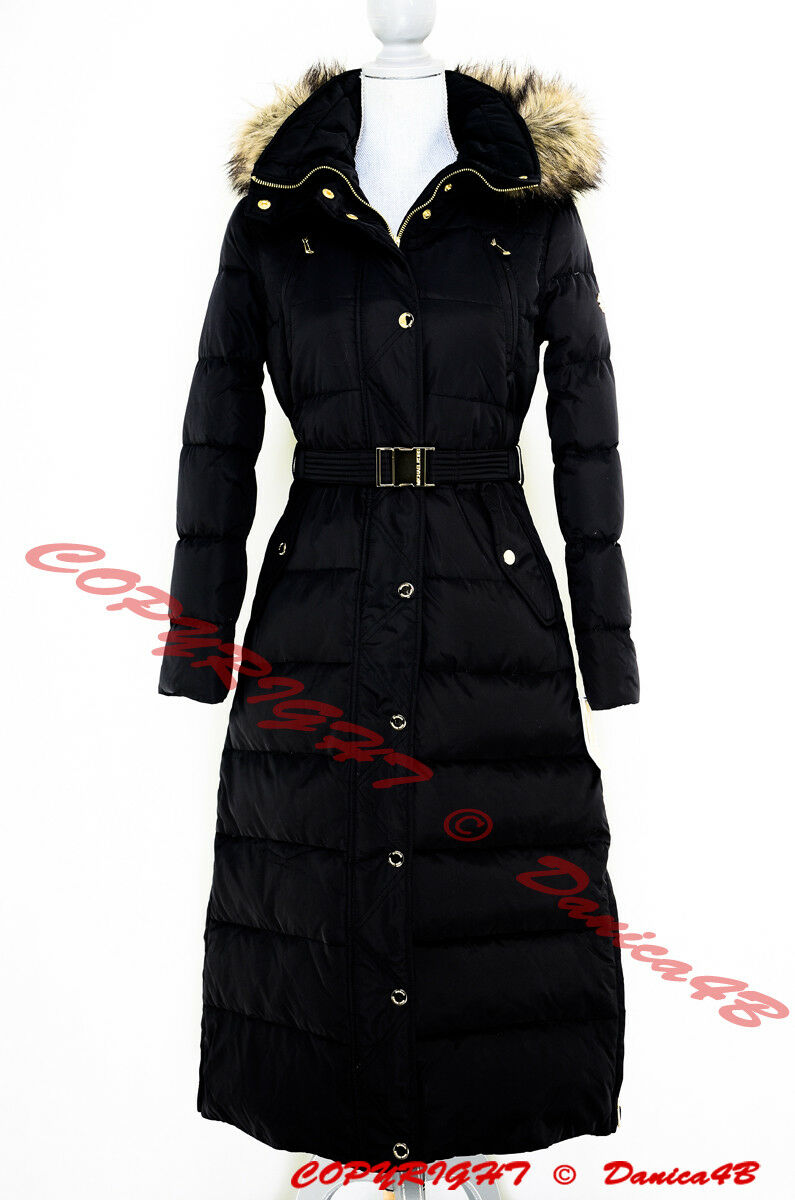 0de4f8c05861c Michael Kors Hooded Faux Fur-trim Belted Down Maxi Puffer Coat S ...
