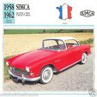 SIMCA PLEIN CIEL 1958 1962 CAR VOITURE FRANCE CARTE CARD FICHE