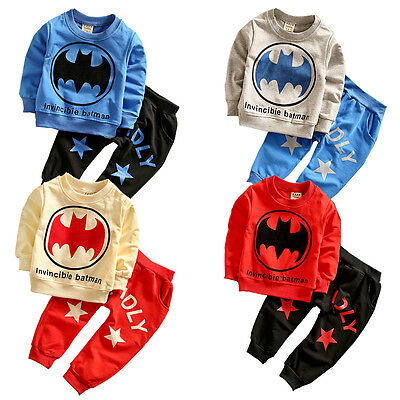 NEW Autumn Baby Kids Boys Cartoon Batman Sport Tracksuits 2pcs Outfit Sets 2-6Y