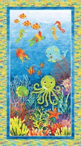 1 Bajo El Mar Pulpo Pescado Caballitos De Mar Coral Quilting fabric panel no