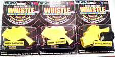 Storm Yellow Whistles with Lanyards   Pack of 3 packaged Loudest whistle