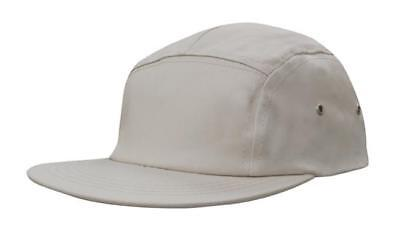 5 PANEL Cotton Twill Square Front FLAT Peak with Metal Eyelets Cap Hat Charcoal