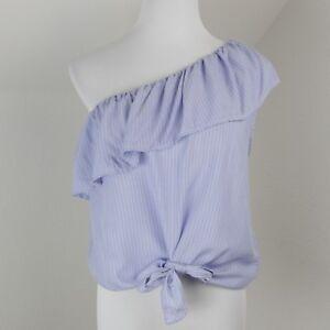 f5f721a931394c Womens Mossimo M Blue Stripe Top Summer Ruffle One Shoulder Shirt ...