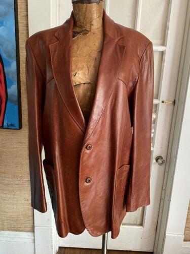 Mens Vintage Size 46 Brown Leather Western Jacket