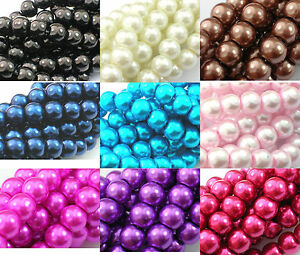 3-4-6-8-10-12mm-Glass-Pearls-Beads-CHOOSE-COLOURS-SIZES-Jewellery-Making-UK