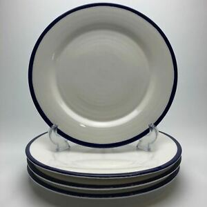 Set-of-4-Pottery-Barn-Blue-Thin-Banded-Dinner-Plates-White-10-1-2