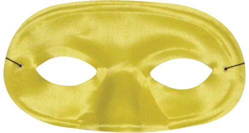 TI60YW Morris Costumes New Satin Elastic Band Domino Yellow Half Mask