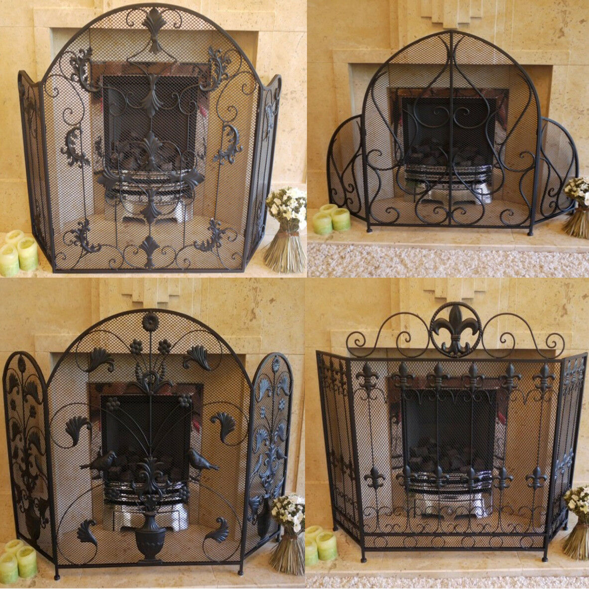 Negro De Hierro Forjado 3 paneles de malla fireguard recargado arqueado Plegable Pantalla De Fuego Nuevo