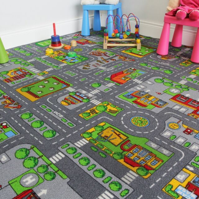 200x200 Square Street Kids Village Town Rug City Car Roads