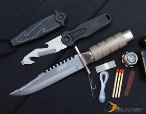 2PC Tactical Bowie Survival & Gut Hook Neck Knives - AJP1