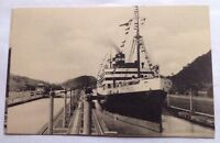 c. 1930s SS VIRGINIA, PANAMA PACIFIC LINE CRUISE SHIP in PANAMA CANAL POSTCARD