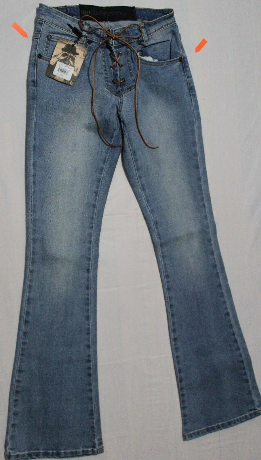 200 ONE TABLESPOON SISSY COBAINE blue LACE UP FLARE JEANS US 8