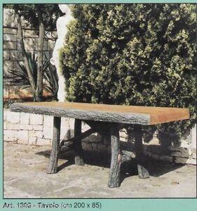 Tavolo effetto legno arredo da giardino statua statue in for Tavolo effetto marmo