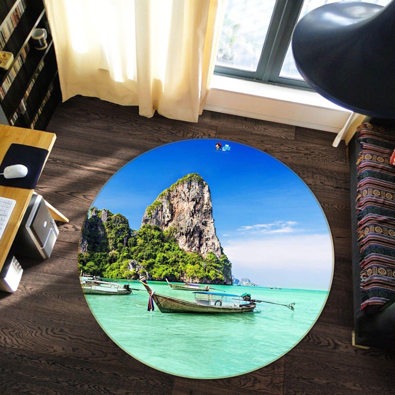 3D Hills Boat 122 Non Slip Slip Slip Rug Mat Room Mat Round Elegant Carpet UK Carly 6de554
