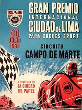 ART PRINT POSTER ADVERT RACE SPORT CAR GRAN PREMIO PERU GP 1959 LIMA NOFL0749