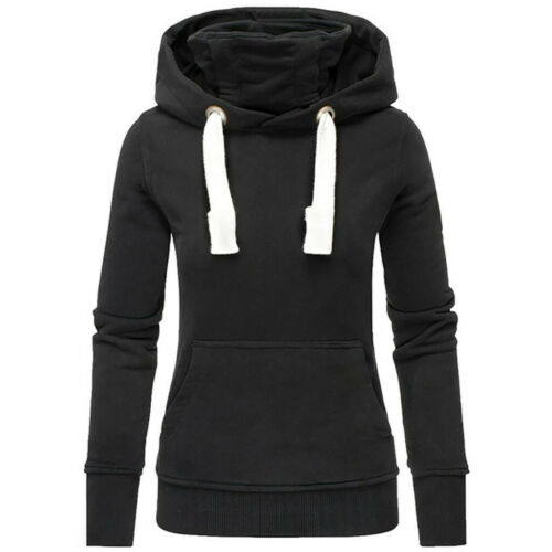 Women Ladies Solid Hooded Turtleneck Long Sleeve Sweatshirt Pullover Tops Shirt