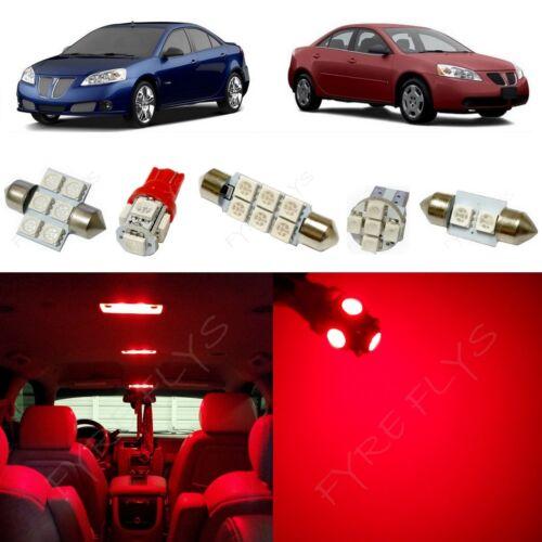 5x Red LED lights interior package kit for 2005-2010 Pontiac G6 PG2R