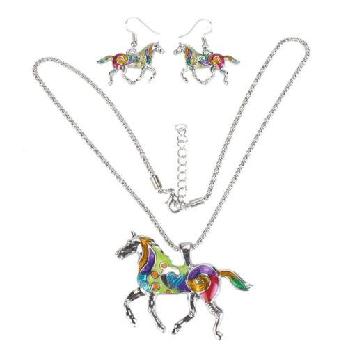 Chaîne Émail Oil Drip Femmes Cadeau Boucles d/'oreilles Collier Bijoux Set Steed Horse