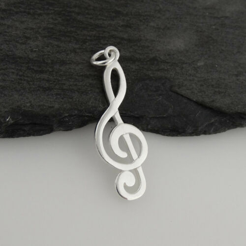Treble Clef Charm-Argent Sterling 925-Musique Musical Orchestre Choeur Band New