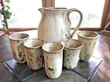 Vintage Stoneware Pitcher & Cups Drip Glazed Studio Pottery Signed DEK Set Of 6