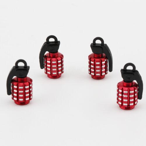 4x Red Aluminum Wheel Tyre Valve Stem Caps Grenade For Toyota Model Universal
