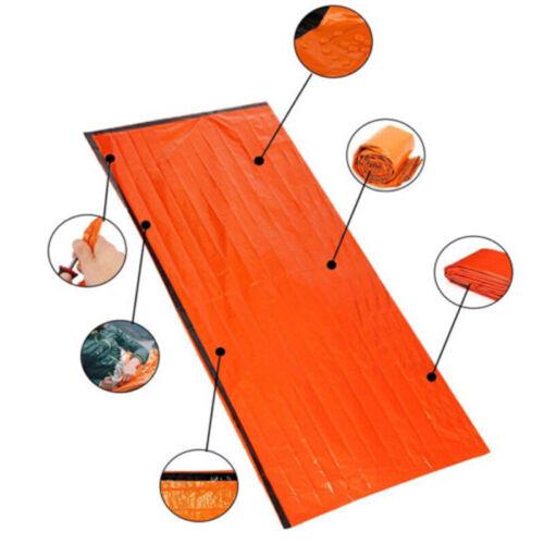 2pk Orange Emergency Thermal Sleeping Bag For Outdoor Survival Rescue Durable